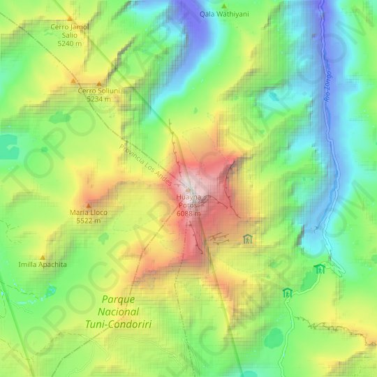 Huayna Potosí topographic map, relief map, elevations map