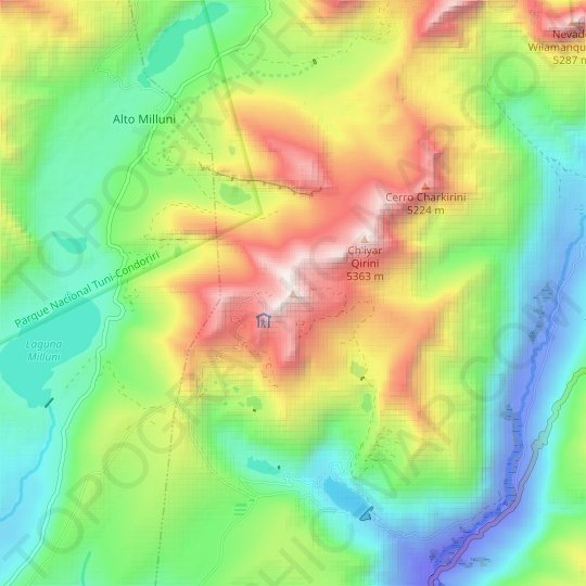 Chacaltaya topographic map, relief map, elevations map