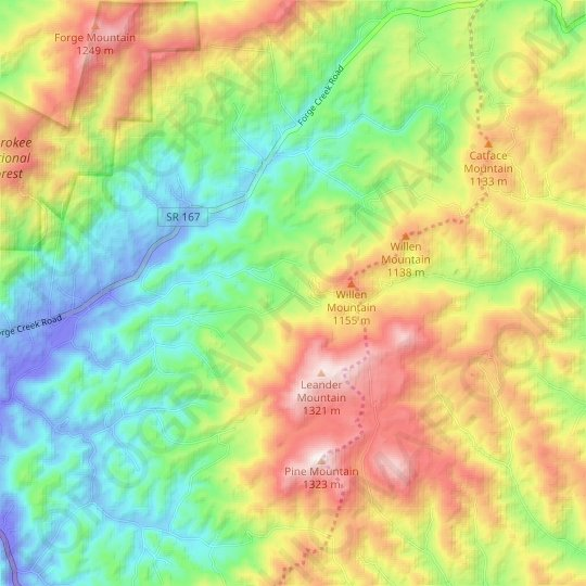 Osborn topographic map, relief map, elevations map