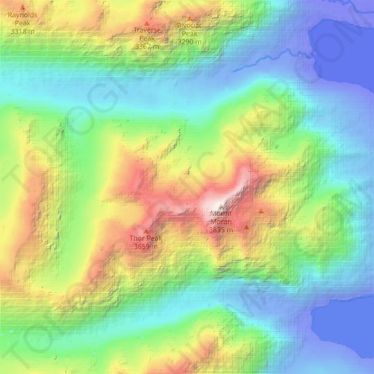 Triple Glaciers topographic map, relief map, elevations map