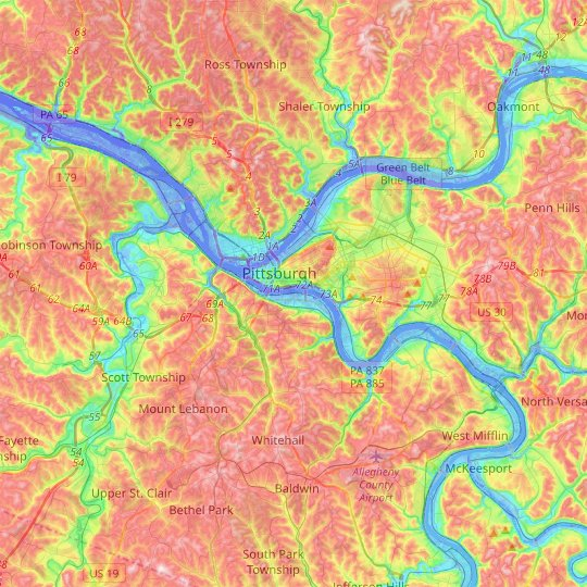 Pittsburgh topographic map, relief map, elevations map on map of pocono mountains pa, map of endless mountains pa, map of pocono mountain area,