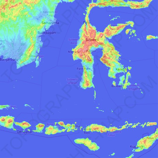 South Sulawesi topographic map, elevation, relief