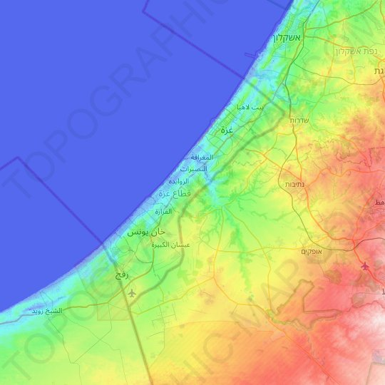 Gaza Strip topographic map, elevation, relief