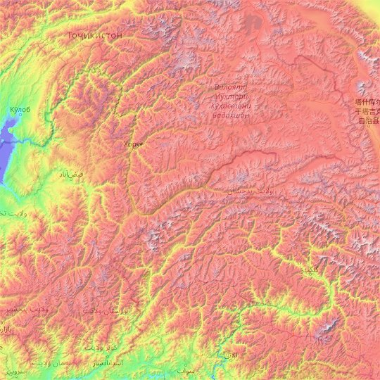 Badakhshan topographic map, elevation, relief