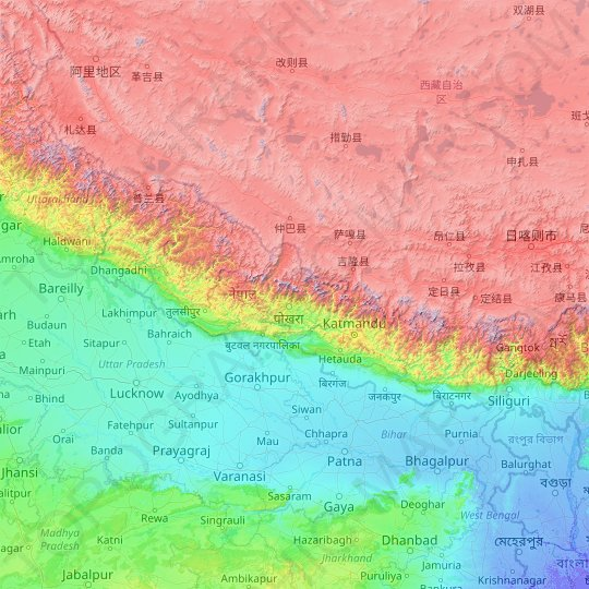 Nepal topographic map, elevation, relief