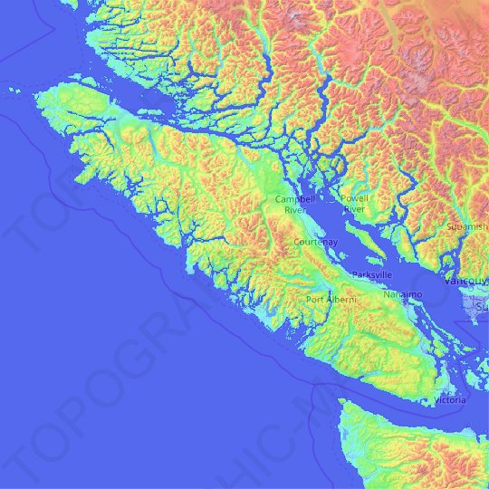 Vancouver Island topographic map, elevation, relief
