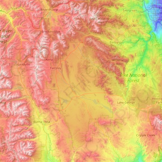 Park County topographic map, elevation, relief