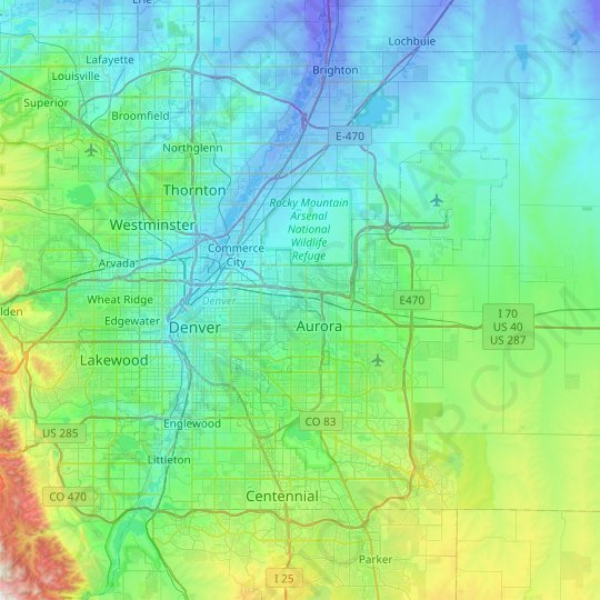 Denver topographic map, elevation, relief