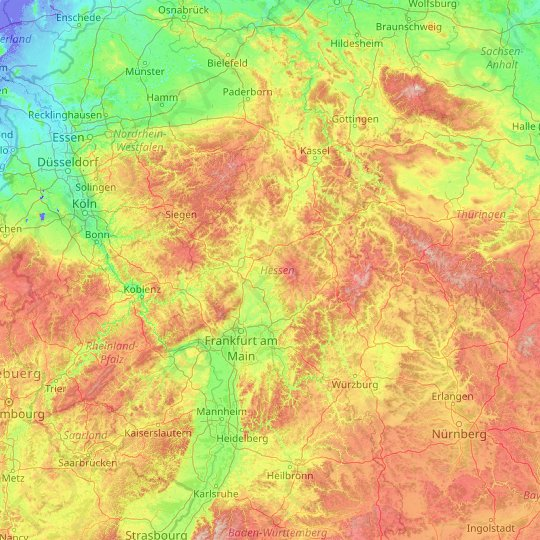 Hessen topographic map, relief, elevation