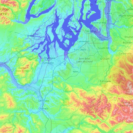 Thurston County topographic map, relief map, elevations map