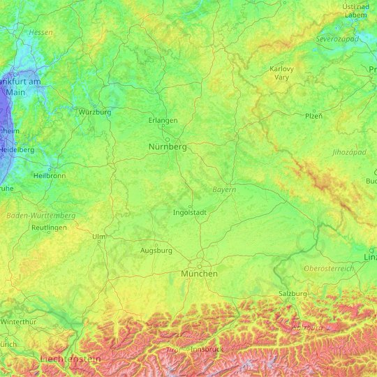 Bavaria topographic map, relief, elevation