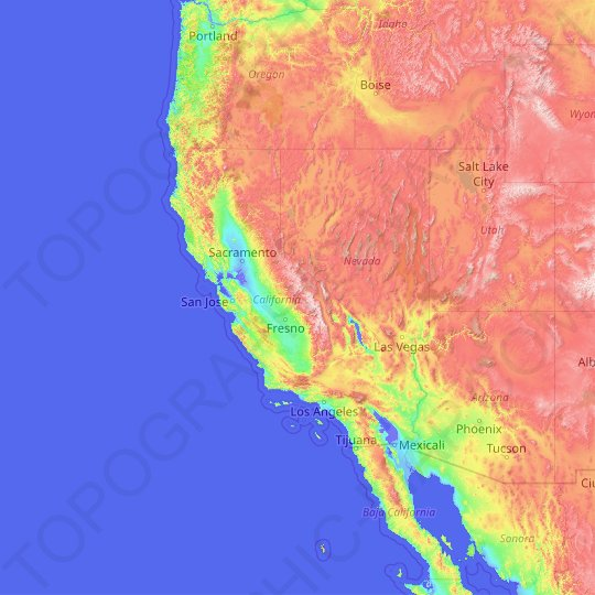 California topographic map, elevation, relief