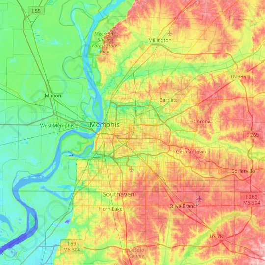 Memphis topographic map, relief map, elevations map
