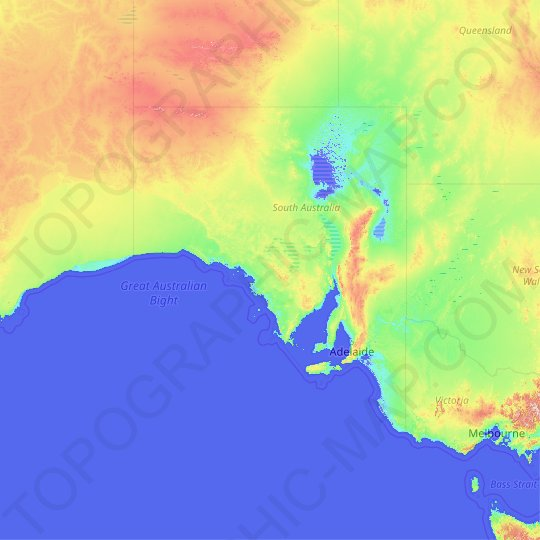 South Australia topographic map, relief map, elevations map