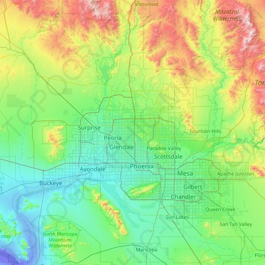 Phoenix topographic map, relief map, elevations map