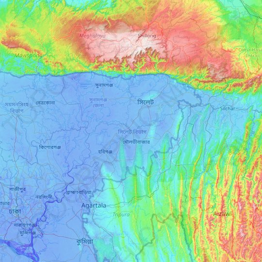 Sylhet Division topographic map, elevation, relief