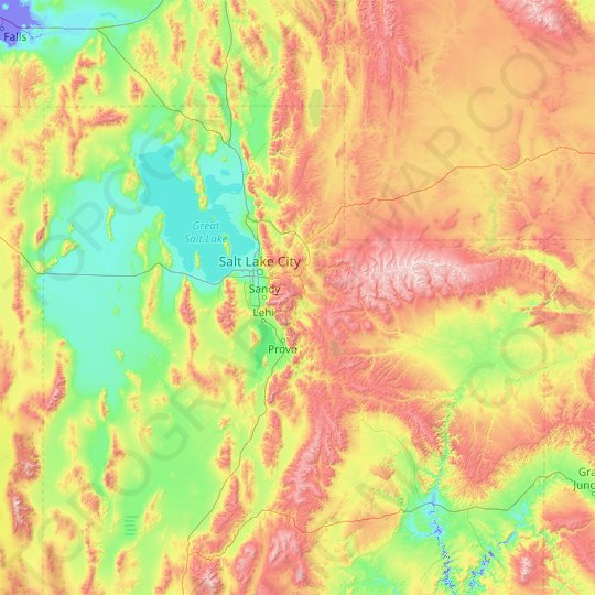 Wasatch Range topographic map, relief map, elevations map