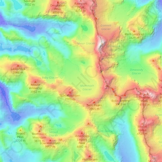 Mammoth Glacier topographic map, relief map, elevations map