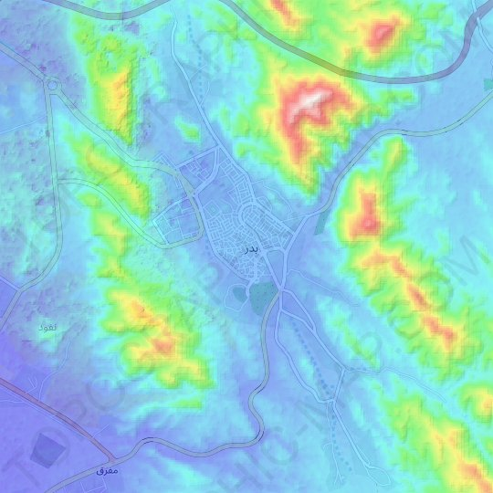 Badr topographic map, elevation, relief